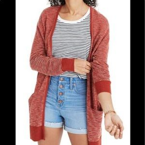 Madewell Ryder stripes cardigan in rusty torch XXS